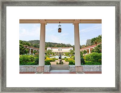 The Getty Villa Main Courtyard View From Covered Walkway. Framed Print