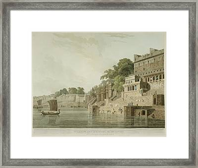 The Ghats By The River Ganges Framed Print by British Library