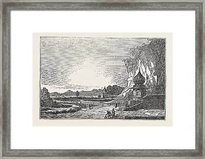 The Ghaut Or Landing Place Of Etawah Framed Print