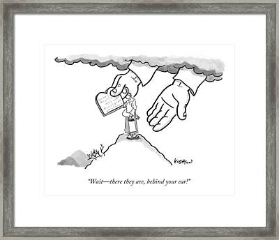 The Giant Hands Of God Hold Up The Tablets Framed Print