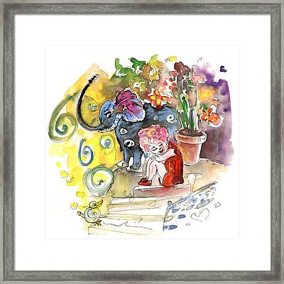 The Girl And The Elephant And The Bird From Velez Rubio Framed Print