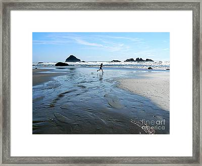 the Girl and the Ocean Framed Print by Dona  Dugay