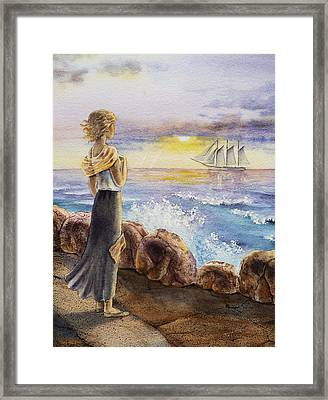 The Girl And The Ocean Framed Print by Irina Sztukowski