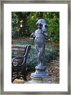 The Girl By The Bench Framed Print