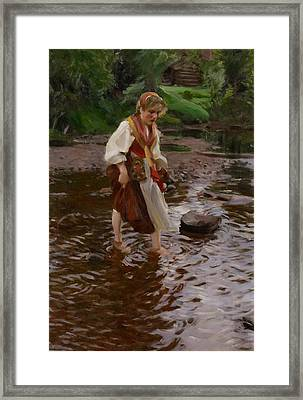 The Girl From Alvdalen Framed Print by Anders Leonard Zorn