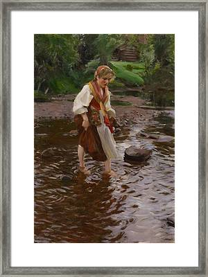The Girl From Alvdalen Framed Print by Anders Zorn