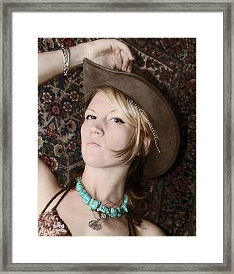 The Girl In The Hat Framed Print by  Andrea Lazar