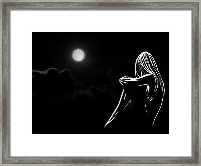 The Girl In The Moon Framed Print by Steve K
