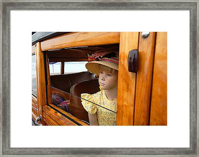 The Girl The Hat The Woodie Framed Print by Ron Regalado