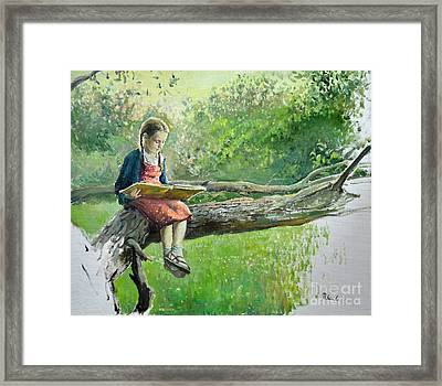 The Girl With Book Framed Print by Eugene Maksim