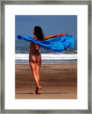 The Girl With The Blue Cloth Framed Print