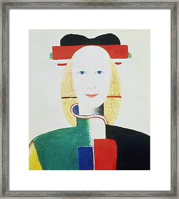The Girl With The Hat Framed Print by Kazimir Severinovich Malevich