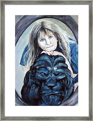 The Girl With The Lion Framed Print