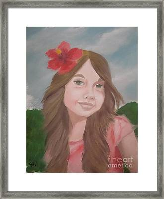 The Girl With The Red Flower II Framed Print by Angela Melendez