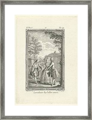 The Girl With The Wine Glass In Conversation Framed Print by Jacob Folkema
