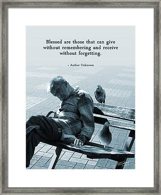The Give And Take Poster Framed Print by IM Spadecaller
