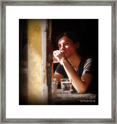 The Glass Of Water Framed Print by Miriam Danar