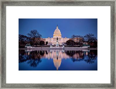 The Glow Of The Capitol Framed Print