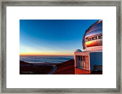 Framed Print featuring the photograph The Glow Of The Warm Sunset Reflecting Off Of The Gemini 8.1m Op by Jim Thompson