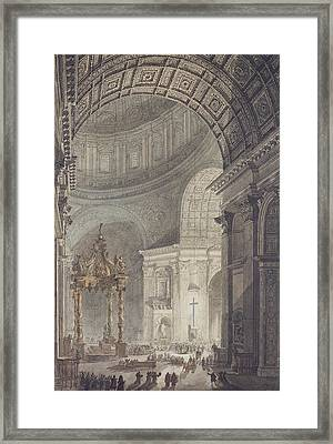 The Glowing Cross In St Peters, Rome, On Maundy Thursday Framed Print by Charles Norry