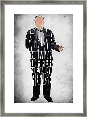 The Godfather Inspired Don Vito Corleone Typography Artwork Framed Print by Ayse Deniz