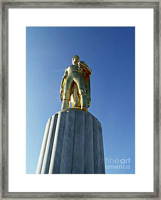 Framed Print featuring the photograph The Gold Man  by Mindy Bench