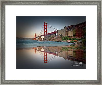 The Golden Gate Bridge And Reflection Framed Print by Jim Fitzpatrick