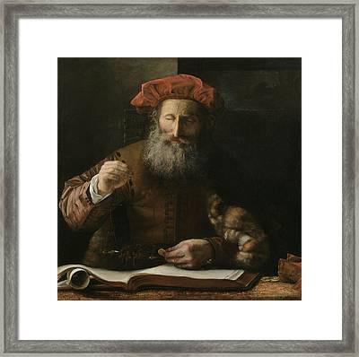The Goldweigher Framed Print by Karel van der Pluym