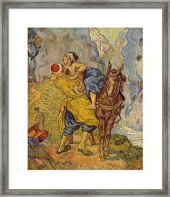 The Good Samaritan - After Delacroix Framed Print by Vincent van Gogh