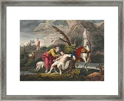 The Good Samaritan, Illustration Framed Print
