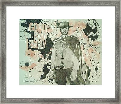 The Good The Bad And The Ugly Poster Framed Print by Karan Sargent