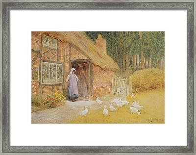 The Goose Girl Framed Print by Arthur Claude Strachan