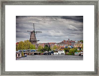 The Gooyer Windmill In The City Of Amsterdam Framed Print by Artur Bogacki