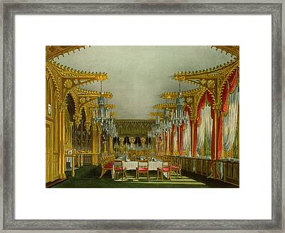 The Gothic Dining Room At Carlton House Framed Print by Charles Wild