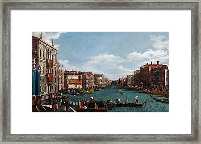 The Grand Canal At Venice Framed Print by Antonio Canaletto