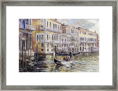 The Grand Canal In The Late Afternoon  Framed Print by Rosemary Lowndes