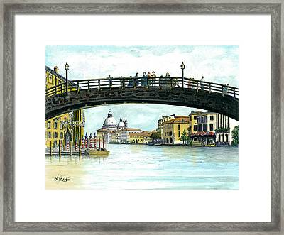 Framed Print featuring the painting The Grand Canal Venice Italy by Albert Puskaric