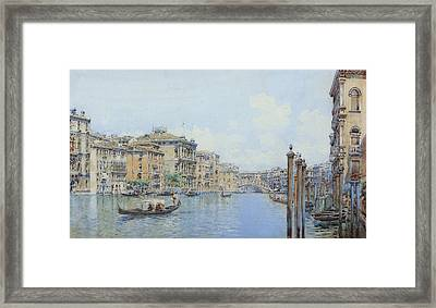 The Grand Canal With A View Of Palace Framed Print by Gino de Colle
