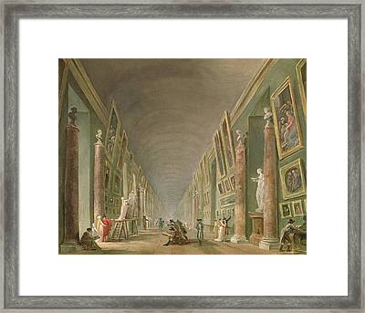 The Grand Gallery Of The Louvre Between 1801 And 1805 Oil On Canvas Framed Print