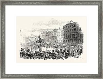 The Grand Procession Of The Wellington Statue Framed Print