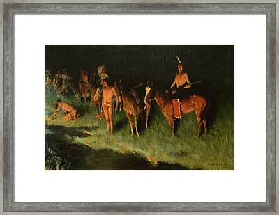 The Grass Fire Framed Print by Frederic Remington