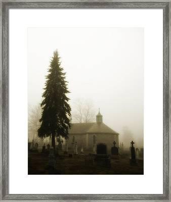 The Graveyard In The Fog  Framed Print
