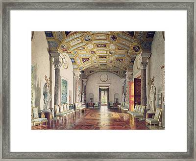 The Great Agate Hall In The Catherine Palace At Tsarskoye Selo, 1859 Wc & White Colour On Paper Framed Print
