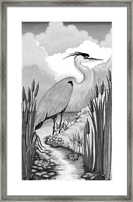 Framed Print featuring the digital art The Great Blue In Grey by Carol Jacobs