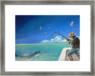 Framed Print featuring the painting The Great Catch 1 by S G