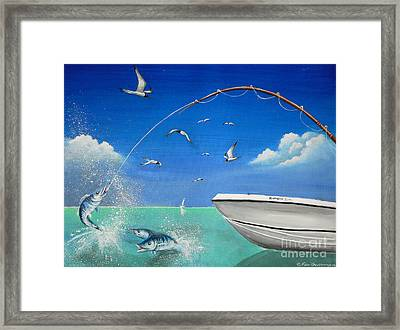 Framed Print featuring the painting The Great Catch 2 by S G