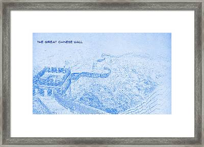 The Great Chinese Wall - Blueprint Drawing Framed Print by MotionAge Designs