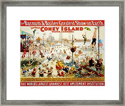 The Great Coney Island Water Carnival Framed Print by Georgia Fowler