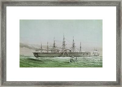 The Great Eastern Laying Electrical Cable Between Europe And America Framed Print by Louis Le Breton