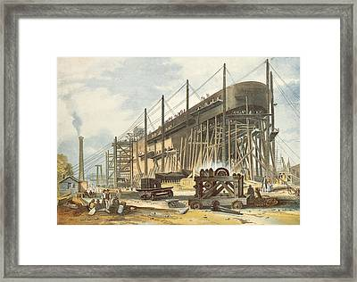The Great Eastern On The Stocks Colour Engraving Framed Print by English School